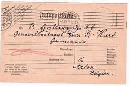 WK I Deutschland / Belgien 2 Feldpostkarten 1915 Givet / Würzburg Nach Arlon Provinz Luxemburg An Generalleutnant Hurt - Storia Postale