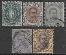 Italia Italy 1889 Regno Umberto I Seconda Serie 5val Sa N.44-48 US - Usados