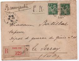 Recommandation Partielle / Lettre En FM > Femme Sapeur PARIS XVI 1939 Affranchissement 2 X 1F IRIS Cf. Description RR ! - Storia Postale