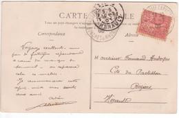 10c Semeuse Lignée Perforé CL Sur Carte Postale MARSEILLE CAPUCINES 1906 Usage Frauduleux à Titre Personnel - Lettres & Documents