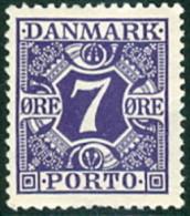 DENEMARKEN 1921-39 7öre Portzegel Gladde Achtergrond PF-MNH-NEUF - Postage Due