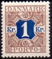 DENEMARKEN 1921-25 Portzegel 1kr Bruinblauw Gladde Achtergrond PF-MNH - Postage Due