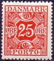 DENEMARKEN 1921-39 25öre Port Met Gladde Achtergrond Rood PF-MNH - Postage Due