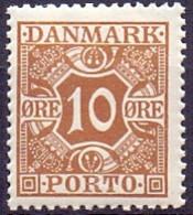 DENEMARKEN 1921-1930 10öre Portzegel Gladde Achtergrond PF-MNH - Postage Due