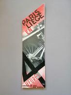 Marque-page Signet Paris-Liège En 4 Heures Chemin De Fer Du Nord 1930 - Bookmarks
