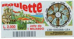 Gratta E Vinci - 1998 - ROULETTE - Sanremo - 3 - - Billetes De Lotería