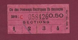 100421 - TICKET TRANSPORT METRO CHEMIN DE FER TRAMWAY - Cie Tramways Electriques BESANCON Série C 058426 0.50 - Europe