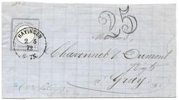 Moselle  (Hayange) L 2gr Aigle Obl. HAYINGEN 1872 - Taxe France 25 Double Trait - Elzas-Lotharingen