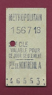 100421 - TICKET TRANSPORT METRO CHEMIN DE FER TRAMWAY - METROPOLITAIN 156718 2ME CL PORTE DE MONTREUIL A 46553 - Europe