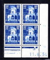 ALGÉRIE YT-N°: 314 - PALAIS DU BARDO, Coin Daté Du 11.06.1954, Galvano B De A+B, 1er Tirage, NSC/**/MNH - Ungebraucht