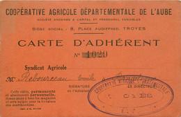 CARTE D'ADHERENT COOPERATIVE DEPARTEMENTALE DE L'AUBE BRAGELOGNE BEAUVOIR - Other