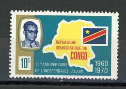 CONGO - PRESIDENT ET CARTE - N° Yvert 713 ** - Republic Of Congo (1960-64)