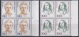 BRD, 1989,  Nr. 1432-1433 ** Frauen Der Deutschen Geschichte (X), 2 Viererblöcke - Neufs