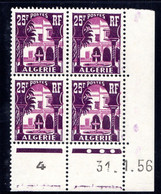 ALGÉRIE YT-N°: 314A - PALAIS DU BARDO, Coin Daté Du 31.01.1956, Galvano A De A+B, 3e Tirage, NSC/**/MNH - Ungebraucht