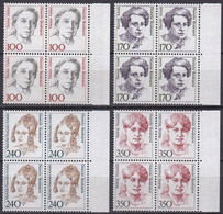 BRD, 1988,  Nr. 1390-1393 ** Frauen Der Deutschen Geschichte (VI), 4 Viererblöcke - Neufs