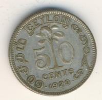 SRI LANKA - CEYLON 1929: 50 Cents, Silver, KM 109a - Sri Lanka