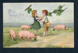 CTH  Superbe Carte Gaufrée - Couple D'enfants Fraternisant - Cochon - Porc - Bonne Et Heureuse Année - Voyagée 1906 - Unclassified