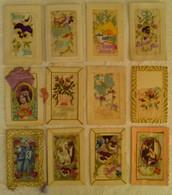 LOT 12 BELLES CPA FANTAISIE BRODEE FLEUR SYSTEME Fête Rabat Message Papillon Pensée Couple - Embroidered
