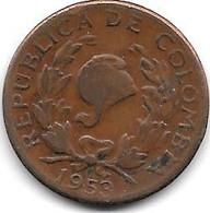 *colombia  5 Centavos 1953  Km 206  Vf+ - Colombie