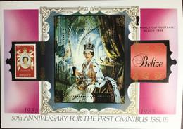 Belize 1985 Omnibus Stamp Anniversary Pre World Cup Overprint Minisheet MNH - Belize (1973-...)