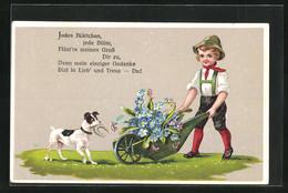 Präge-AK Kind Mit Schubkarre Und Hund - Unclassified