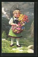 AK Kleines Blumenmädchen In Tracht Vor Einer Gebirgskulisse - Unclassified