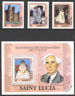 St. Lucia Sc# 591-594 MNH 1982 Princess Diana - St.Lucia (1979-...)