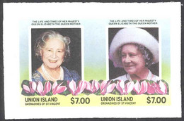 St. Vincent Grenadines Union Is. Sc# 212 (stamps Only) MNH Pair IMPERF (ERROR) 1985 $7 Queen Mother - St.Vincent E Grenadine