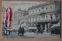 BRUXELLES : Marché-aux-herbes Et Entrée Des Galeries SAINT-HUBERT Et Les Attelages Et Calèches (5) En 1912 - Brussels (City)