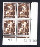 ALGÉRIE YT-N°: 313A - PALAIS DU BARDO, Coin Daté Du 12.09.1955, Galvano B De A+B, 1er Tirage, NSC/**/MNH - Ungebraucht