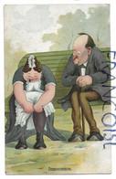"""Madame Assise Sur Un Banc Remonte Ses Bas Sous L'œil De Monsieur:"""" Innocence"""". - Couples"""