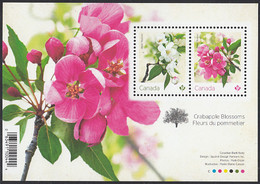 Canada 2021 Souvenir Sheet Of 2 (P) Maybride, Rosseau Crabapple Blossoms - Unused Stamps