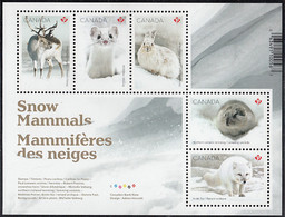 Canada 2021 Sheet Of 5 (P) Ermine, Hare, Fox, Lemming, Caribou Snow Mammals - Unused Stamps