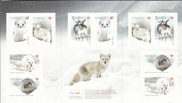 Canada 2021 Booklet Of 10 (P) Ermine, Hare, Fox, Lemming, Caribou Snow Mammals - Full Booklets