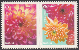 Canada 2020 (P) Dahlias Pair Ex Booklet - Unused Stamps