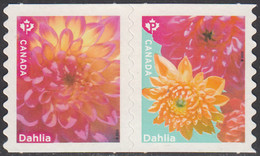 Canada 2020 (P) Dahlias Pair Ex Coil - Unused Stamps