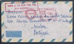 Carta Do Rio De Janeiro Expedida Para Portugal 1976. Sobrecarga 'Este é Um País Que Vai Prá Frente'. Mapa Estilizado Bra - Storia Postale