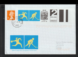 Great Britain Cover 2012 London Olympic Games - SmartStamp With Hockey + Stamp Posted 2010 From Stratford - Summer 2012: London