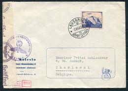 1943 Switzerland Lausanne 30 Cent Jungfrau Airmail Luftpost, Wehrmacht Censor Cover - Charleroi Belgium - Storia Postale