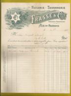 13 - AIX EN PROVENCE - Huilerie Savonnerie - Frasse & Cie  ( Facture Année 1905 ) - Alimentare