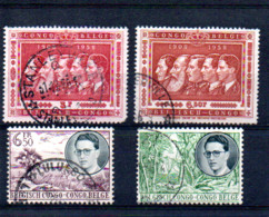 CONGO  BELGE  1908  1958  LOT DE 4 TIMBRES OBLITERES - 1894-1923 Mols: Used
