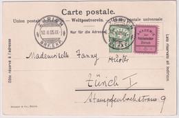 65B / Michel 53Y Mit Vignette Akademie Der Polytechniker Zürich - Auf Ansichtskarte Einladungskarte Akademie..... - Covers & Documents