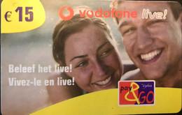 BELGIQUE - Prepaid  -  PROXIMUS - Pay&GO -  Vivez-le En Live ! -  15 E. - GSM-Kaarten, Herlaadbaar & Voorafbetaald