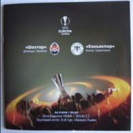 Football -  Program UEFA Europa League 2016-17 Shakhtar Donetsk Ukraine - Konyaspor FK  Turkey - Books