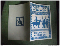 Programme Régiment Mixte Malgache Madagascar Juillet 1937 Militaire Militaria Betongolo - Programs