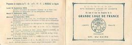 FRANC MACONNERIE - FRANC MACON - CARTON DE CONVOCATION - 1929 - OR ... Du CAIRE - OSIRIS - ALEXANDRIE EGYPTE -(10 X 14) - Organizaciones