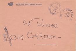 Lettres En Franchise Oblitération TàD Manuel Centre De Tri De 62 ARRAS GARE CD Contrôle Douanier Douane Pas De Calais - 1961-....