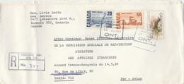 CANADA LETTRE COVER REC AVION TORONTO 15/8/1969 YT 386 + 388+ 424 GRIVE HERMIT THRUSH POUR PARIS MINISTERE AFFAIRES ETRA - Covers & Documents