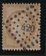 59 15 Centimes Bistre Oblitération Petits Chiffres 420 - 1871-1875 Ceres