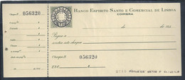 Cheque Do Banco Espirito Santo, De Coimbra 1940. Selo De Cheque Em Relevo. Check Stamp In Relief.  Reliefscheckstempel. - Cheques & Traveler's Cheques